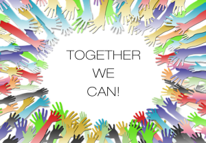 Together We Can graphic; multiple hands