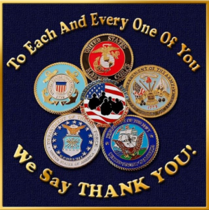 Armed Services logos; To Each and Every One of You We Say THANK YOU!